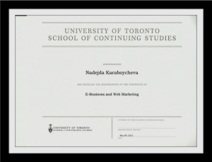 Certificate E-business and web marketing from U of T
